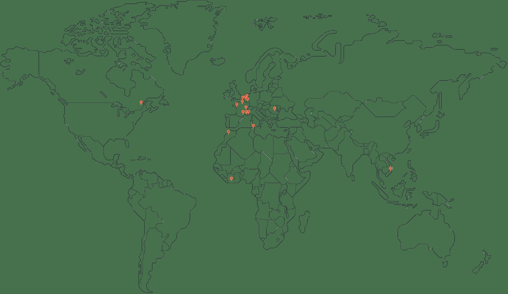 mappemonde qui renseigne la mobilité professionnelle des talents IT de cooptalis (Asie, Afrique, Amérique du nord, France)